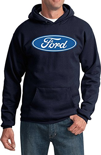 (Lucky Ride Ford Oval Logo Car Men's Pullover Hooded Sweatshirt Hoodie, Navy, 2XL)