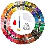 TICOSH Broderie Kit 150 Fils a Brode Echevettes de Fils Broderie Fil a Coudre des Outils Accessoires Point pour Broderie Point de Croix Tricotage Bracelets Brésiliens ( 150 couleurs )
