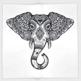 Cotton Microfiber Hand Towel,Elephant Mandala,Vintage Ornate Holy Animal Head with Floral Paisley Sacred Details,Purple and White,for Kids, Teens, and Adults,One Side Printing