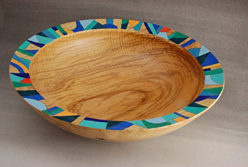 Large maple bowl with painted rim. (Rim Concord)