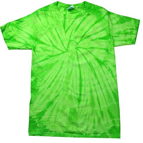 (Colortone Tie Dye T-Shirt LG Spider Lime)