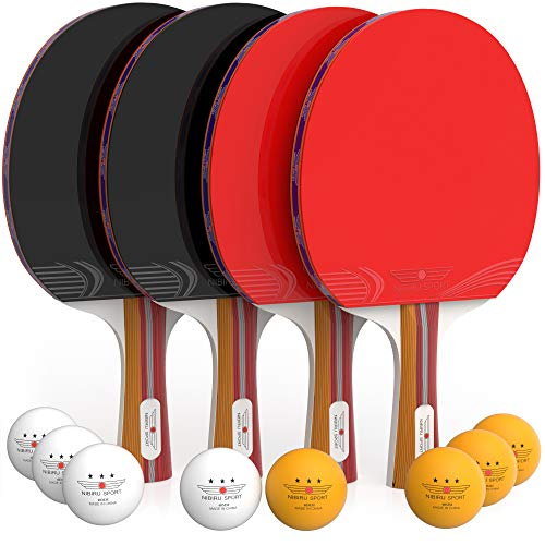 (NIBIRU SPORT Ping Pong Paddle Set (4-Player Bundle), Pro Premium Rackets, 3 Star Balls, Portable Storage Case, Complete Table Tennis Set with Advanced Speed, Control and Spin, Indoor or Outdoor Play)