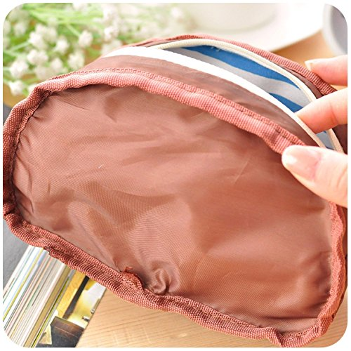 SOCOOL66 TM cute fabric retro kids marine style navy stripe zipper pencil pen bag stationery organizer school accessories