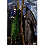 'El Greco Saint Andrew and Saint Francis Ca. 1595 ' oil painting, 24 x 36 inch / 61 x 91 cm ,printed on polyster Canvas ,this High Definition Art Decorative Canvas Prints is perfectly suitalbe for Bedroom artwork and Home gallery art and Gifts