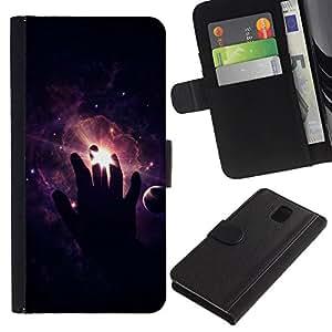 NEECELL GIFT forCITY // Billetera de cuero Caso Cubierta de protección Carcasa / Leather Wallet Case for Samsung Galaxy Note 3 III // Espacio Mano