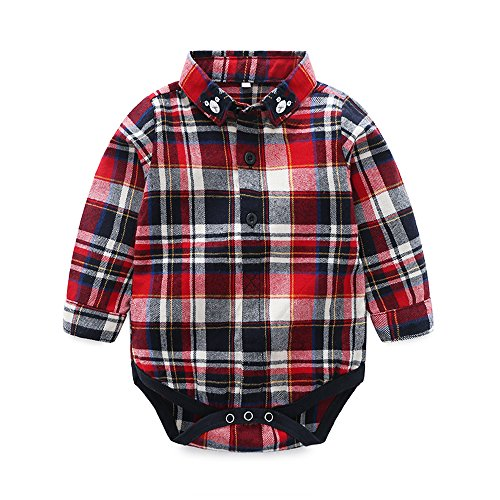 Tem Doger Baby Boys' Button Front Plaid Flannel Bodysuit Romper Shirt Clothes Outfit (90/12-18 Months) Red