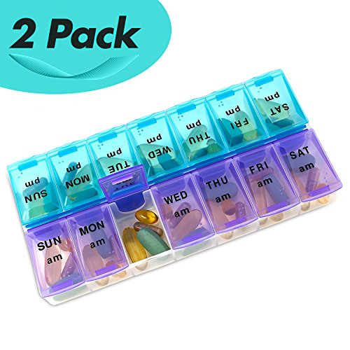 MEDca Weekly Pill Organizer, Twice-a-Day, Pack of 2