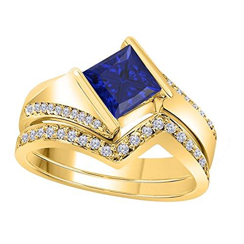 Silver Gems Factory 1.50 Ct Princess & Round Cut Blue Sapphire & White CZ Diamond 14k Yellow Gold Plated Alloy Half Bezel Vintage Design Wedding Engagement Ring Bridal Sets Free Size 4.5-12