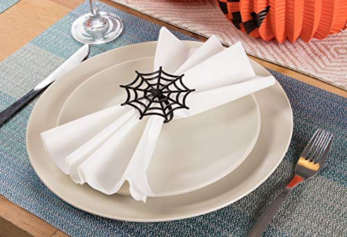 Juvale Halloween Napkin Rings - 6-Pack Black Spider Web Spooky Design Napkin Holder, Scary Costume Theme Party Supplies, Accessories, Lunch and Dinner Table Decoration by Juvale (Image #1)