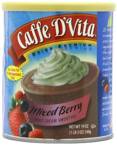 Caffe D'Vita Mixed Berry Smoothie Mix, 19-Ounce Canisters (Pack of 6)