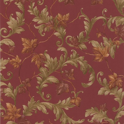 brewster-414-43336-alessia-scrolling-leaf-wallpaper-red