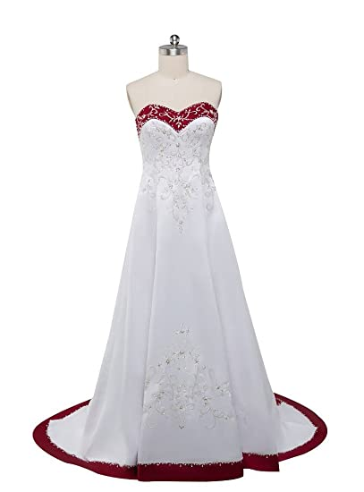 Beauty-Emily Wedding Dresses White Elegant Flower Embroidery Fashion A line  Prom Party Dress d4a9acf0c