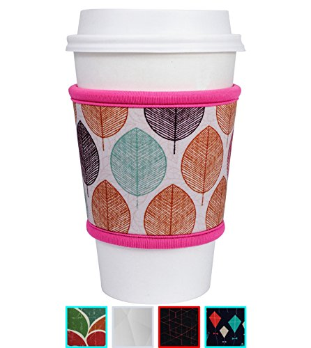 MOXIE Cup Sleeves – Premium Insulated Reusable Cup Sleeve for Coffee, Tea & Cold Drinks – One size fits all (Pink Leaf)