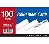 BAZIC 100 Ct. 3'' X 5'' Ruled White Index Card (Case of 36)