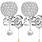 ALLOMN Modern Style Wall Lamp, Crystal Pendant Wall Lamp Bedroom Aisle Living Room Wall Lamp Holder E14 Socket (Bulb Not Included) (with Pull Switch, 2 Pack)