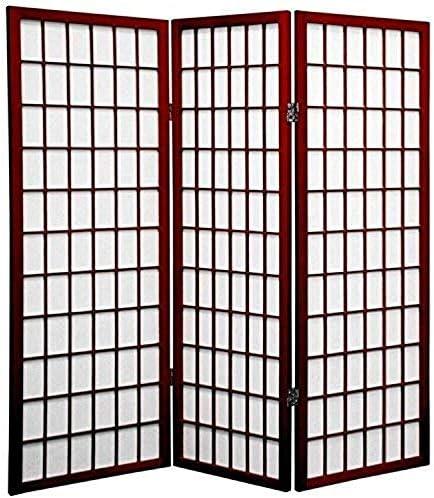Oriental Furniture 4 ft. Tall Window Pane Shoji Screen – Rosewood – 3 Panels