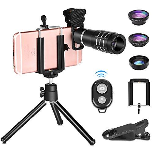Telescope Lens for Phone, Onvian 12X Zoom Telephoto Camera Lens Kit Fisheye Macro Wide Angle for Smartphone from Onvian
