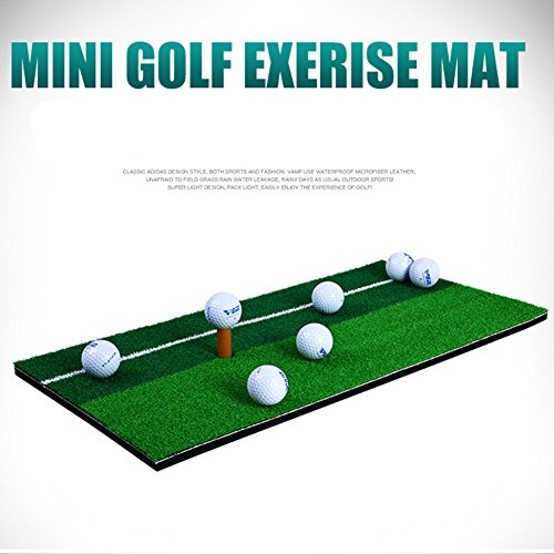 11.81″X23.62″ Golf Hitting Mats Swing Mat Double Color Grass Mini Pad with Rubber Tee Holder