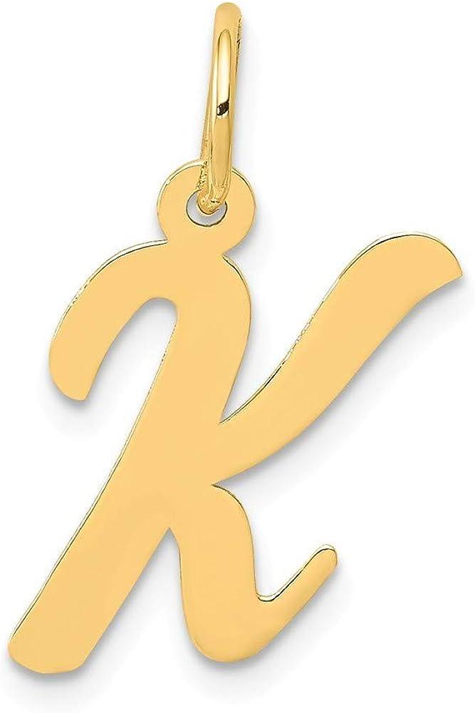 14K Yellow Gold Medium Script Initial K Charm Pendant from Roy Rose Jewelry