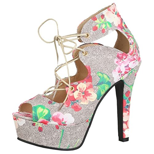 TAOFFEN Mujer Con Cordones Floral Sandalias Tacon De Aguja Tacon Alto Plataforma Fiesta Zapatos Rosado