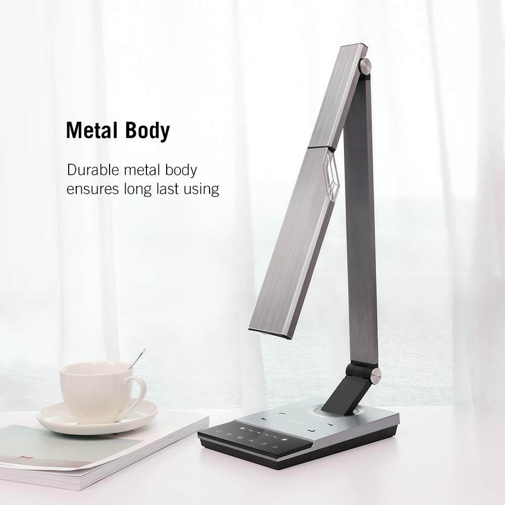 TaoTronics TT-DL050 Stylish Metal LED Desk Lamp with Fast Wireless Charger, 5V 2A USB Port, 5 Color Modes, 6 Brightness Levels, Touch Control, Timer, Night Light, Philips Enabled Licensing Program