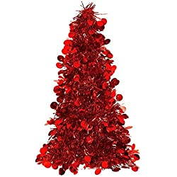 "Amscan Christmas Centerpiece Small Tree, 10"", Tinsel, Red"