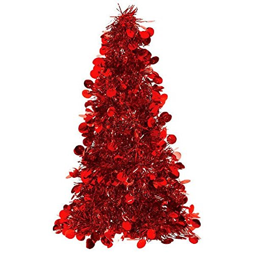 amscan christmas centerpiece small tree 10 tinsel red - Christmas Centerpiece Decorations