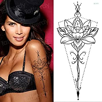 HXMAN 5 Unids Temporal Tatuaje Pegatina Flor Peony Rosa Bocetos ...