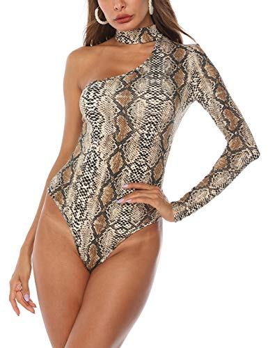 Queen.M Women's Sexy One Shoulder Off Leopard Snake Skin Thong Bodysuit Leotard Tops Bodycon Jumpsuit Stretchy Onesie Romper (One Shoulder Snake, L)