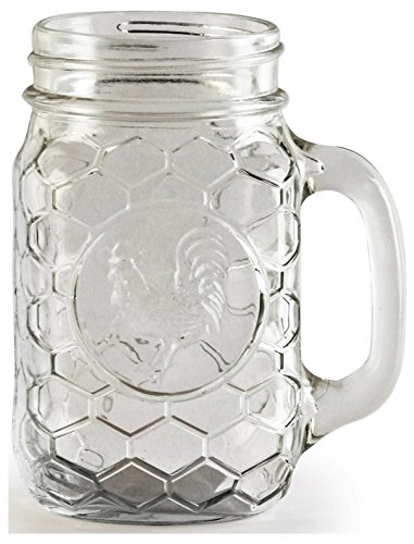 (Circleware 66996 Rooster Glass Mason Jar Mugs, Set Of 4 175 oz)