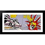 Whaam! 40x20 Large Black Wood Framed Print Art by Roy Lichtenstein