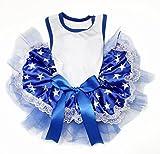 Petitebella White Cotton Shirt Blue Stars Lace Tutu Puppy Dog Dress (XX-large)