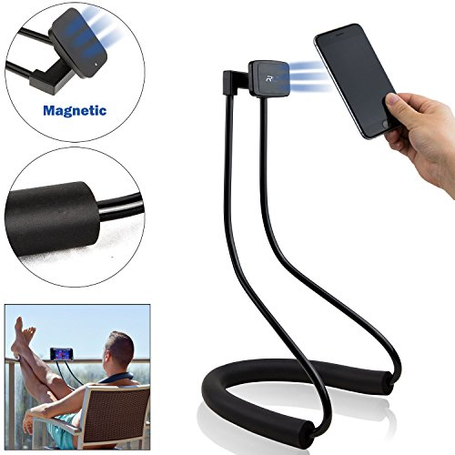 Lazy Neck Phone Holder - Flexible Cell Phone & Tablet Bracket with Magnets/Magnetic Mount - for Table & Bed Use - Universal Stand for Mobile Device - Samsung Iphone Ipad Fire Kindle - R&L