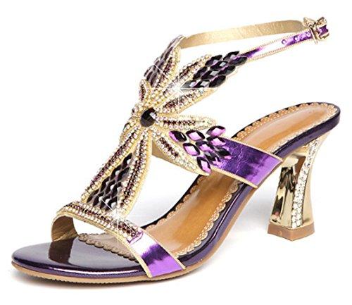 Sexy Sandales Talons Haute purple Talon Chaton Mode Croix Strass Fleur CYGG Mme Ceinture q4fU1U