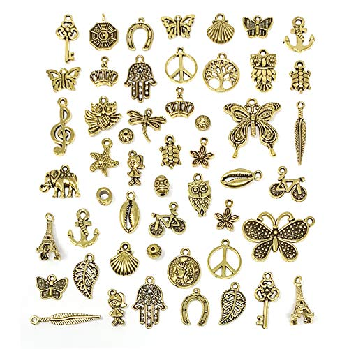 YETOOME 50 PCS Tibetan Antique Gold Charms Mixed Pendants DIY for Jewelry Making and Crafting