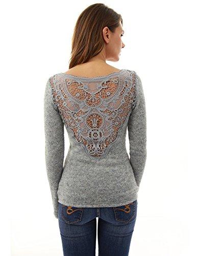PattyBoutik Women's V Neck Lace Back Marled Knit Sweater (Heather Light Gray - Sweater V-neck Marled