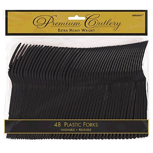 Amscan Reusable Party Forks Premium Heavy Weight Tableware, Jet Black, Plastic, Full Size, Pack of 96