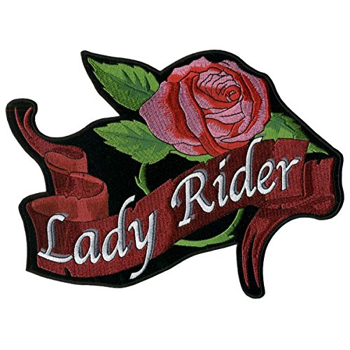Hot Leathers, LADY RIDER ROSE BANNER, High Thread Embroidered Iron-On / Saw-On Rayon PATCH - 3