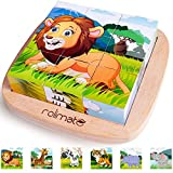 rolimate Wooden Block Puzzle - Lion Zebra Elephant Rhinoceros Tiger Giraffe, Educational Preschool Jigsaw Cube Puzzle Toys Best Christmas Gifts for Toddlers with Age 2 3 4 Years Old and Up