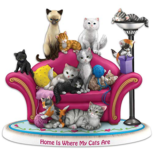 Bradford Exchange Home is Where My Cats are Figurine - Hand-Sculpted Resin Handpainted Details