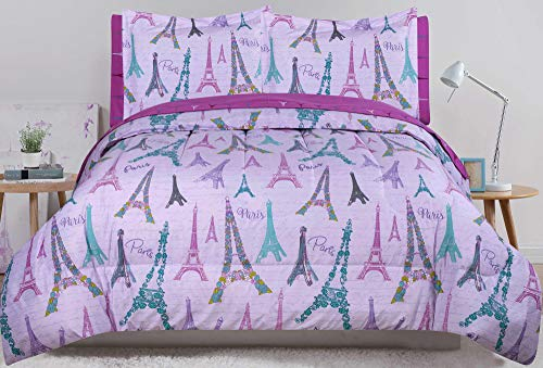 omforter and Sheet Purple Eiffel Tower Floral Bed in a Bag Set ()