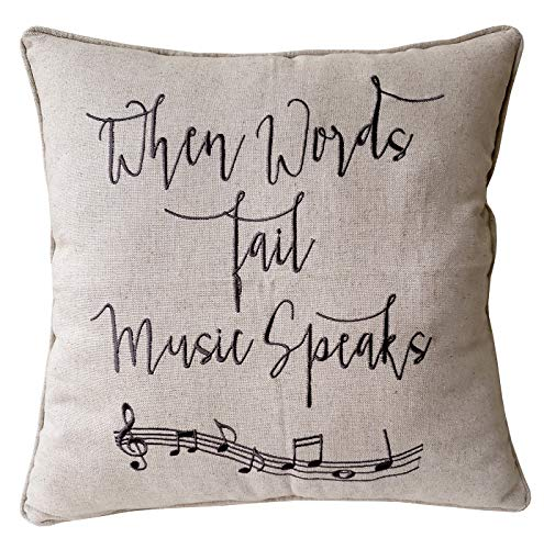 DecorHouzz Music Lover Embroidered Pillow cover Gift for Music Teacher,Guitar Player,Piano Player,Graduation,Teen,Wedding,Christmas present (18