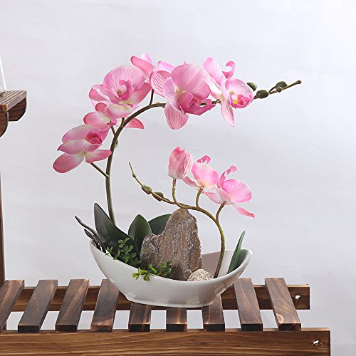 Orchid Artificial Flowers Arrangement Bonsai Miniascape Home Decoration Holiday Gift (Pink Orchid+Mountain)