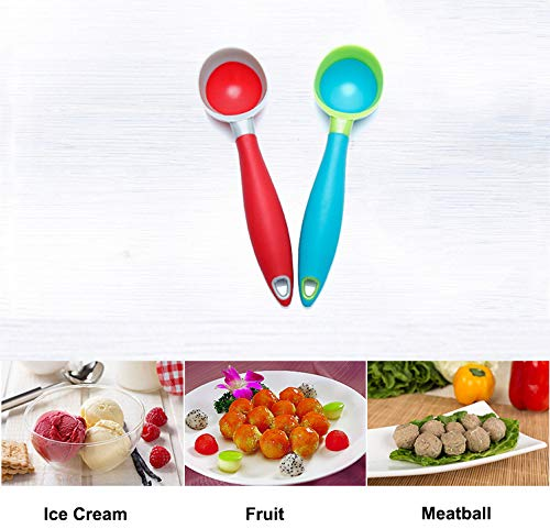 Ice Cream Scoop, 2PCS Nonstick Anti-Freeze Food grade PPR + rubber Ice Cream Scooper with the Hung Hole Design, Comfortable Handle, Dishwasher Safe,Ice Cream Scoops,