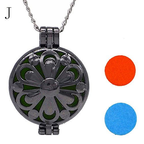 (Molyveva Essential Oil Diffuser Necklace Locket Jewelry Aromatherapy Perfume Necklace for Women Girls (J))