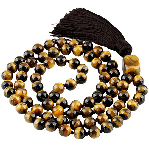 (SUNYIK Tiger's Eye Stone Wrap Bracelet,Beaded Necklace Tibetan Buddhist Prayer Beads)