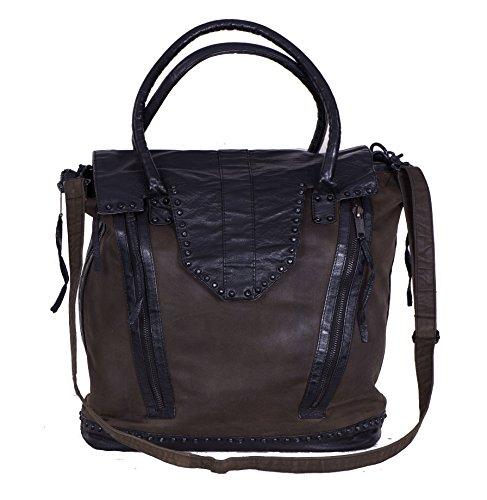 Proud Handtasche Quintig Schultertasche aus olivem verwaschenem Canvas mit schwarzem Leder und Nieten