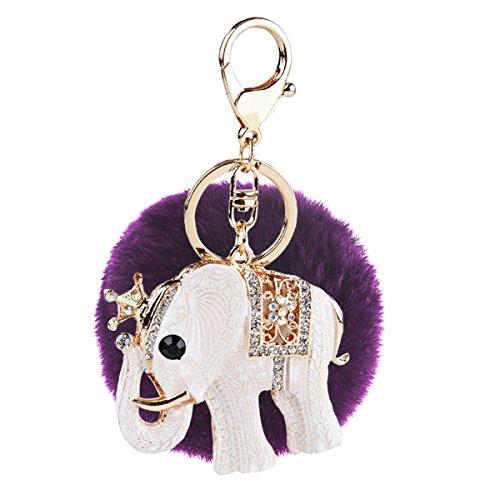 Genuine Elephant For Lucky Rhinestone Artificial Rabbit Fluffy Fur Ball Bling Bling Car Keychain Handbag (C7) -