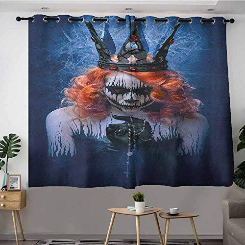 Indoor/Outdoor Curtains,Queen Queen of Death Scary Body Art Halloween Evil Face Bizarre Make Up Zombie,Grommet Curtains for Bedroom,W63x45L Navy Blue Orange Black