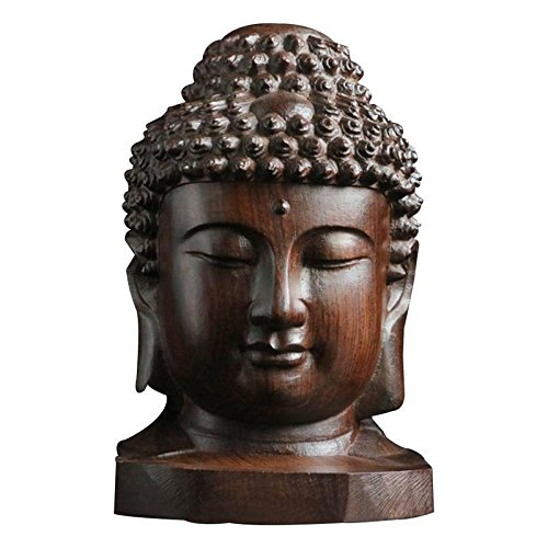 SoulSpaze Buddha Head Statue Wood Wooden SAKYAMUNI TATHAGATA Figurine Mahogany India ()
